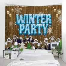 Christmas Snowman Print Tapestry
