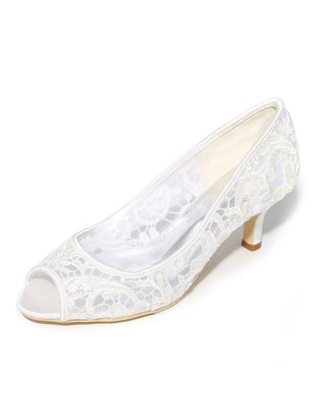 Milanoo Kitten Heel Pumps Lace Mother Shoes Peep Toe Slip On Wedding Shoes For Women