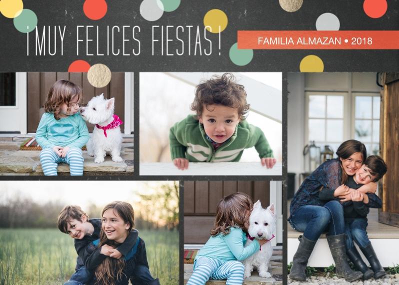 Tarjetas de Navidad 5x7 Cards, Premium Cardstock 120lb, Card & Stationery -Confetti Circles of Color