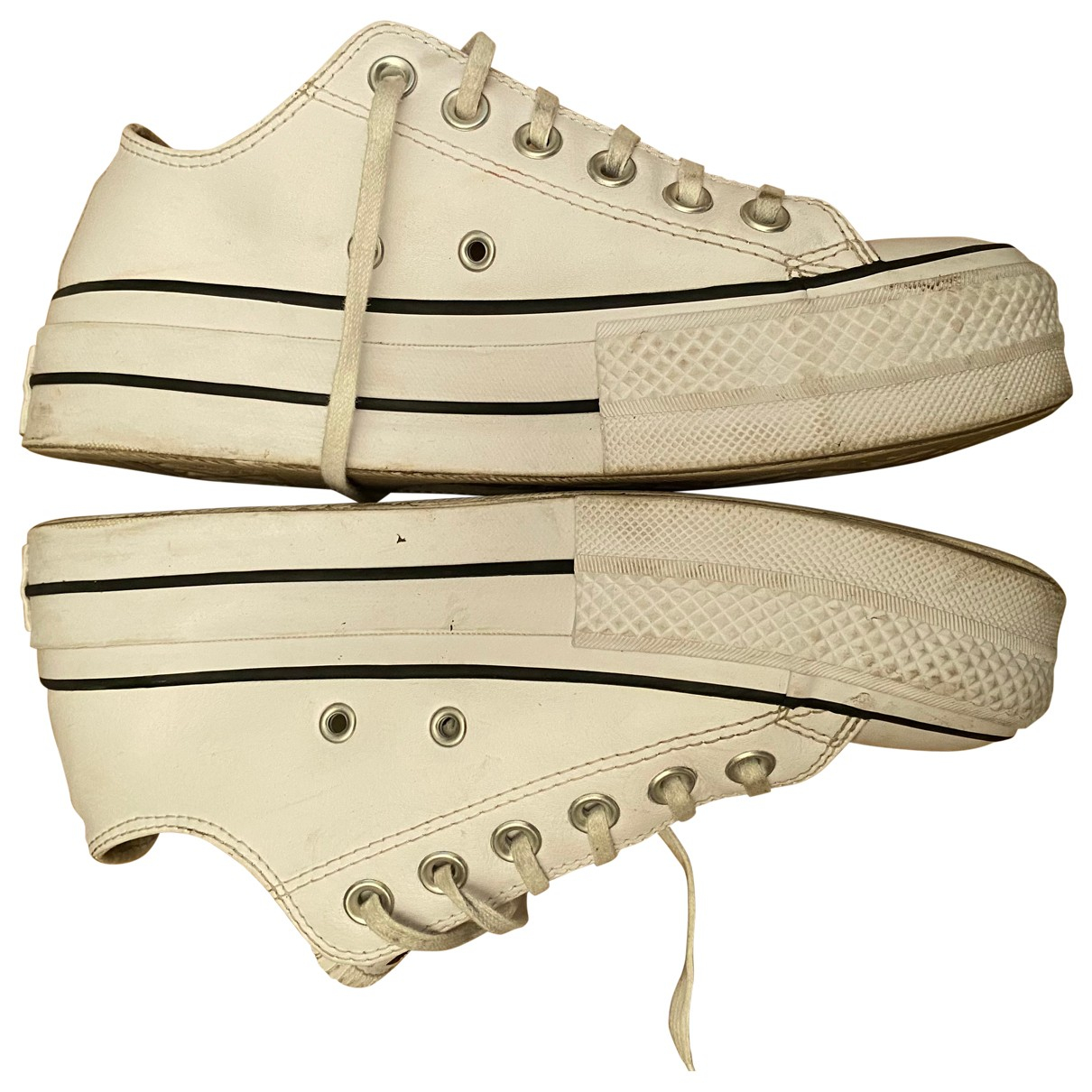 Converse N White Leather Trainers for Women 37 EU