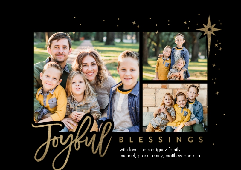 Christmas Photo Cards 5x7 Cards, Premium Cardstock 120lb with Rounded Corners, Card & Stationery -Christmas Joyful Blessings by Tumbalina