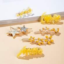 6 Stuecke Haarclip mit Stern & Buchstaben Design