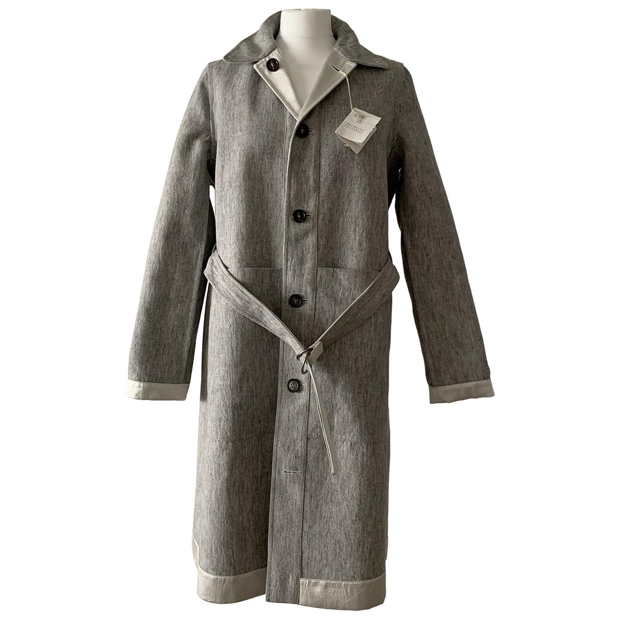 Brunello Cucinelli - Trench   pour femme en laine - gris