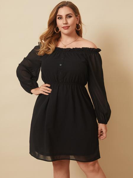 YOINS Plus Size Off The Shoulder Button Design Long Sleeves Mini Dress