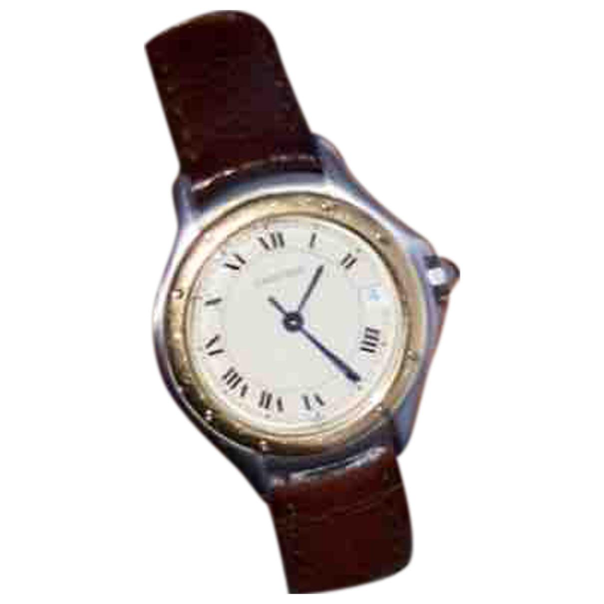 Cartier \N Uhr in  Braun Gold und Stahl