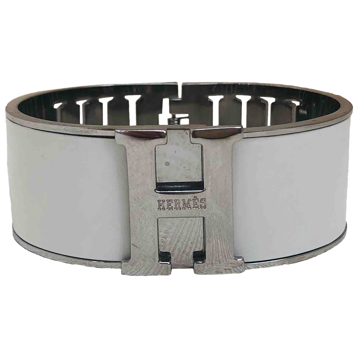 Hermes Clic H Armband in  Weiss Metall