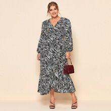 Einfarbiges Kleid mit Zebra Streifen Muster und Knoten