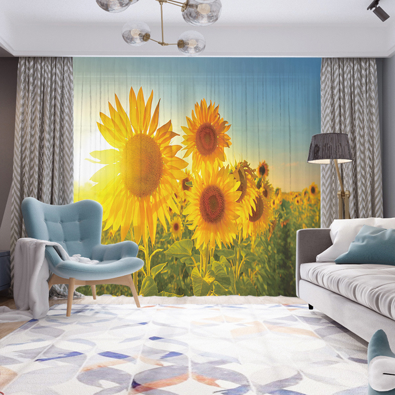 3D Sunflowers Print Decorative Sheer Curtains with Environment-Friendly Chiffon Washable and No Odor No Fading 40% Shading Rate