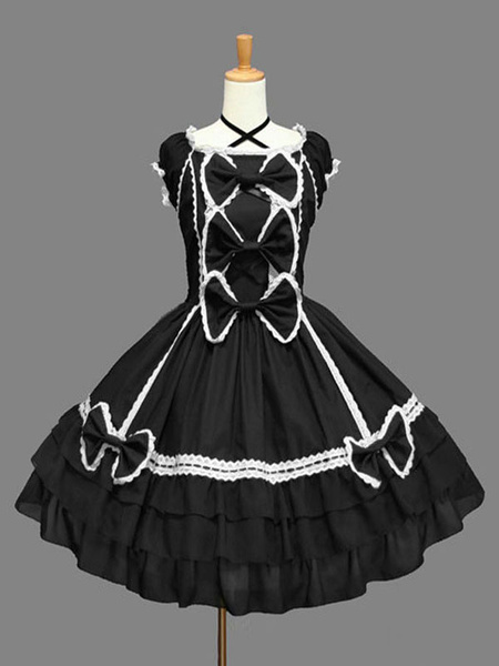 Milanoo Classic Lolita OP Dress Ruffles Black Short Sleeves Lolita One Piece Dresses