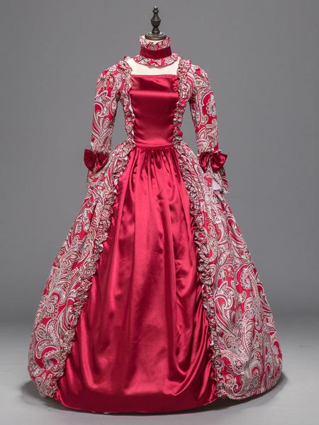 Milanoo Disfraz Halloween Disfraces rojos retro Mujeres con estampado floral Arco Volantes Traje de Maria Antonieta Vestido de fiesta de disfraces Car