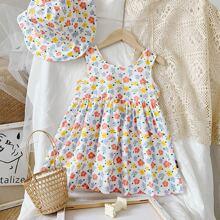 Toddler Girls Allover Floral Print Tank Dress & Hat