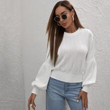 Lantern Sleeve Textured Knit Sweater
