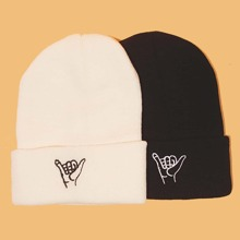 2pcs Guys Embroidery Beanie