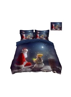 Santa Claus Sending Gifts to A Kid 3D 4-Piece Christmas Bedding Sets/Duvet Covers