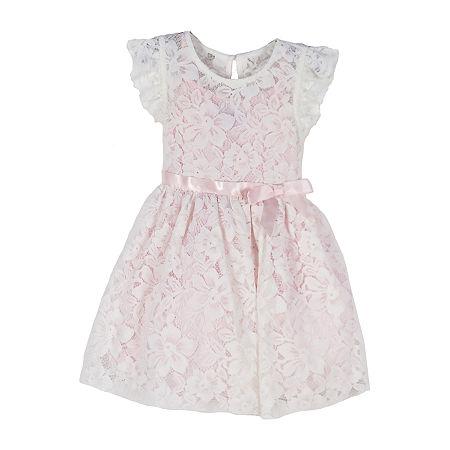 Lilt Little & Big Girls Short Sleeve Flutter Sleeve Party Dress, 12 , White