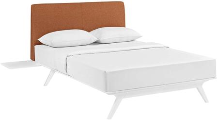 Tracy Collection MOD-5786-WHI-ORA 3 PC Bedroom Set with Queen Size Platform Bed  2 Side Tables  Splayed Tapered Legs and Foam Filled Polyester