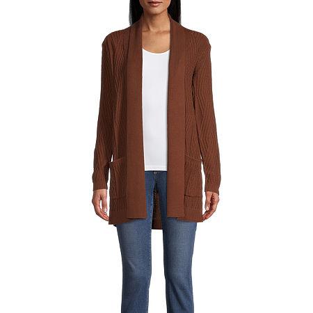 St. John's Bay Womens Long Sleeve Open Front Cardigan, Medium , Brown
