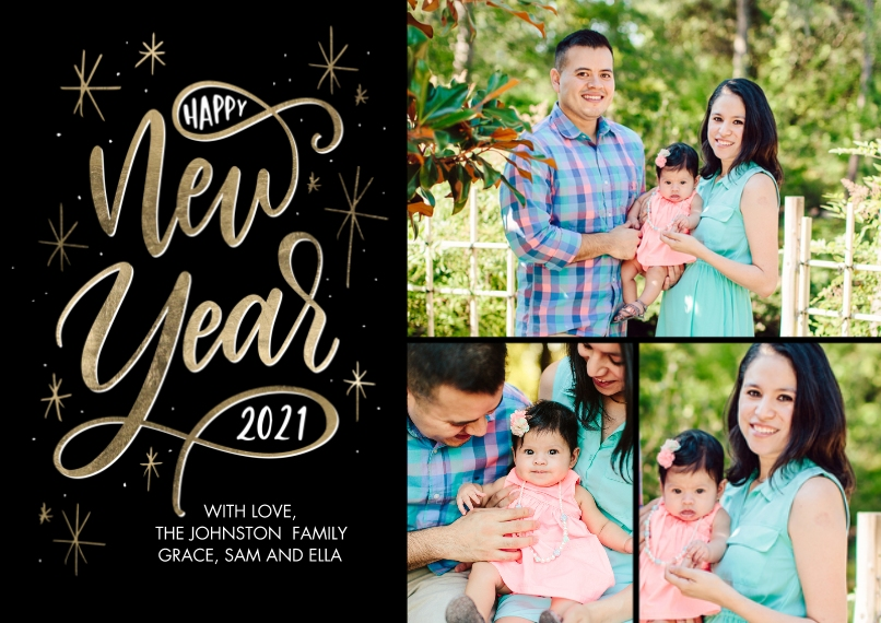 New Year's Photo Cards 5x7 Cards, Premium Cardstock 120lb, Card & Stationery -2021 New Year Script by Tumbalina