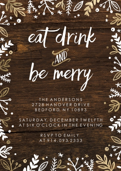 Christmas & Holiday Party Invitations 5x7 Cards, Premium Cardstock 120lb with Scalloped Corners, Card & Stationery -Christmas Invite Rustic Foliage