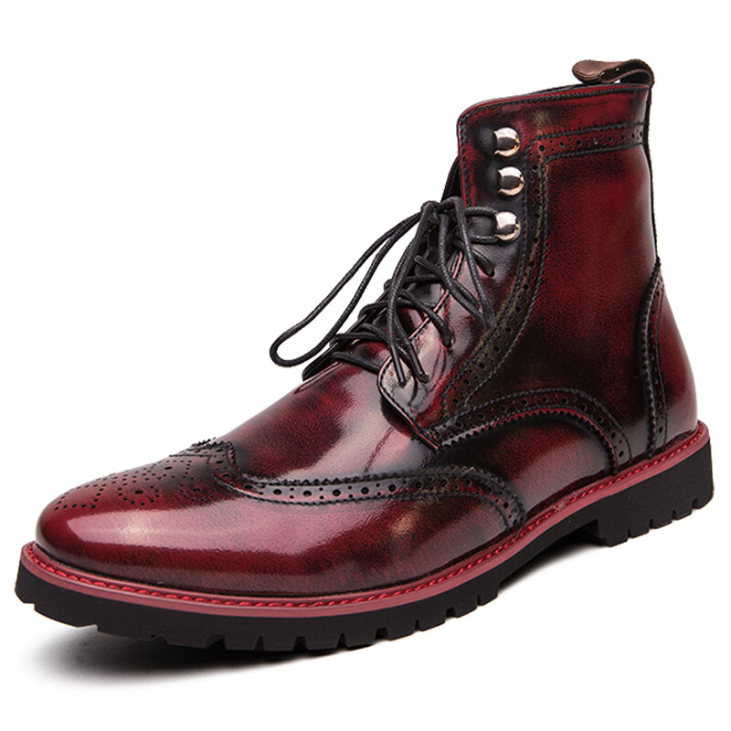 Men British Style Brogue Lace Up Dress Ankle Boots