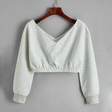 Einfarbiges Crop Sweatshirt mit V Kragen