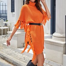 Neon Orange Poncho Pullover mit Fransen am Saum