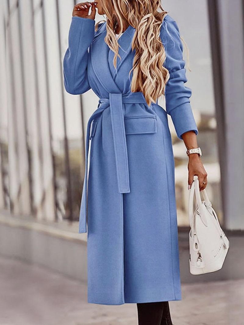 Ericdress Lace-Up Slim Belt Long Winter Overcoat