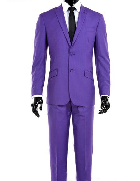 Men's 2 Button Single Breasted Modern Fit Notch Lapel Purple Suit