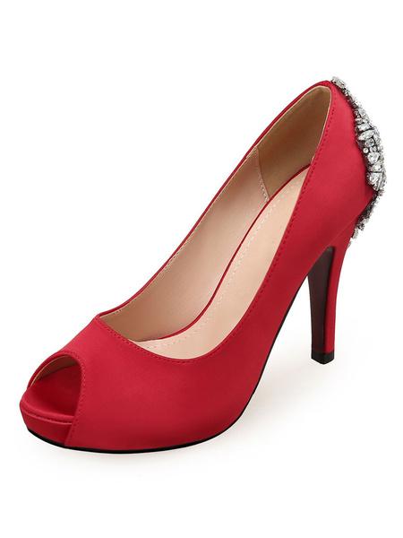 Milanoo Zapatos de novia de saten Zapatos de Fiesta de tacon de stiletto Zapatos blanco  de punter Peep Toe 10.5cm Pumps de Noche & Pumps de Novia