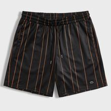 Men Patched Detail Reflective Tape Back Striped Shorts