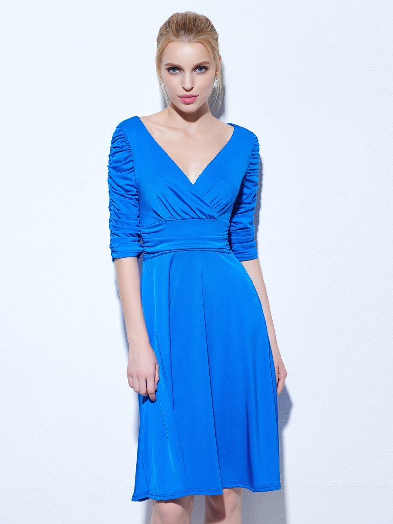 Ericdress A-Line V-Neck Half Sleeves Ruched Knee-Length Cocktail Dress