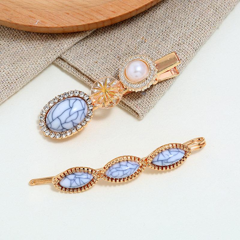 Trendy Blue Turquoise Hair Clip Rhinestone Pearl Hair Clip For Women Hair Accessories