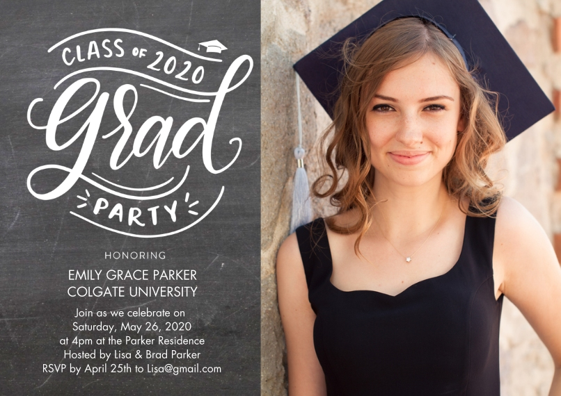 2020 Graduation Invitations 5x7 Cards, Premium Cardstock 120lb with Elegant Corners, Card & Stationery -2020 Grad Party Script by Tumbalina