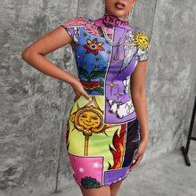 Mixed Print Lettuce Edge Dress