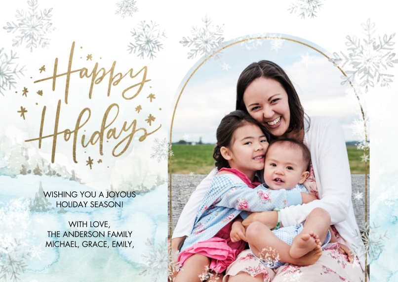 Holiday Photo Cards 5x7 Cards, Premium Cardstock 120lb, Card & Stationery -Holiday Snowflakes by Tumbalina