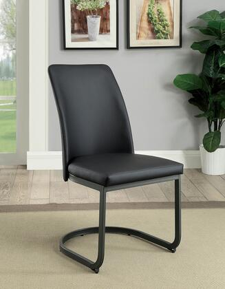 BM183116 Leatherette Upholstered Side Chair with U Shape Metal Cantilever Base  Pack of Two