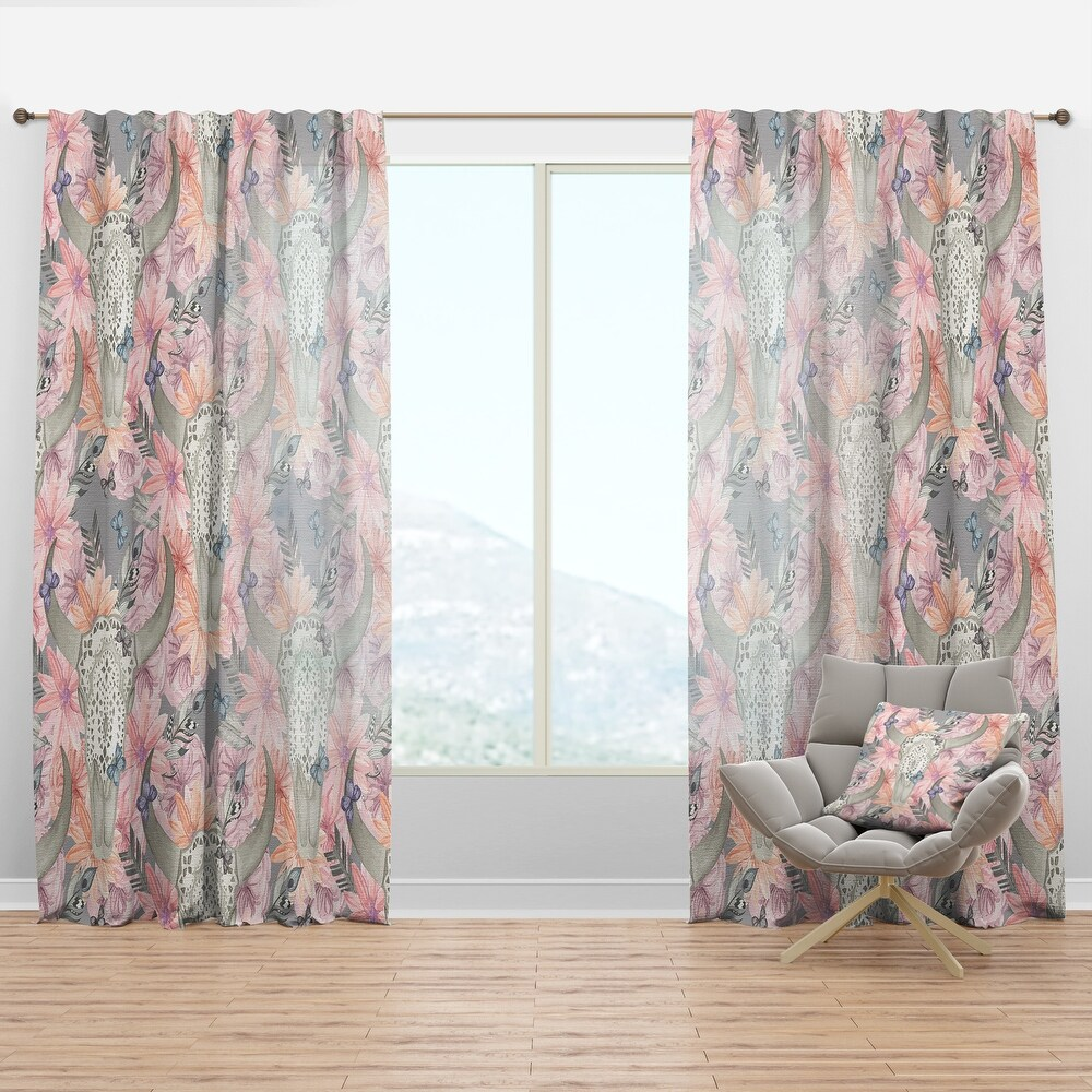 Designart 'Skull Bull in Flowers' Bohemian & Eclectic Curtain Panel (50 in. wide x 90 in. high - 1 Panel)