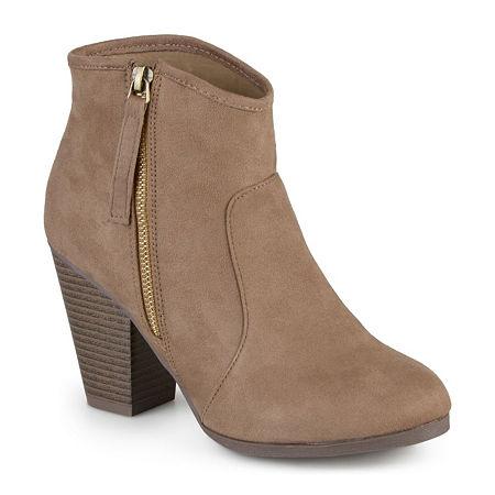 Journee Collection Womens Link Booties Stacked Heel Wide Width, 6 Wide, Beige