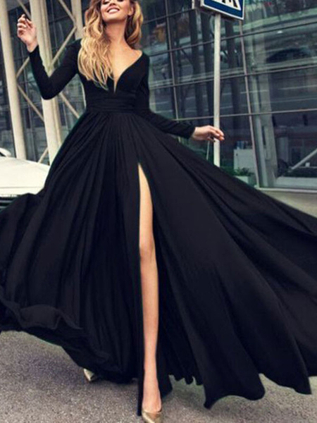 Milanoo Prom Dress 2020 A Line V Neck Elastic Silk Like Satin Long Sleeves Pleated Split Front Party Dresses
