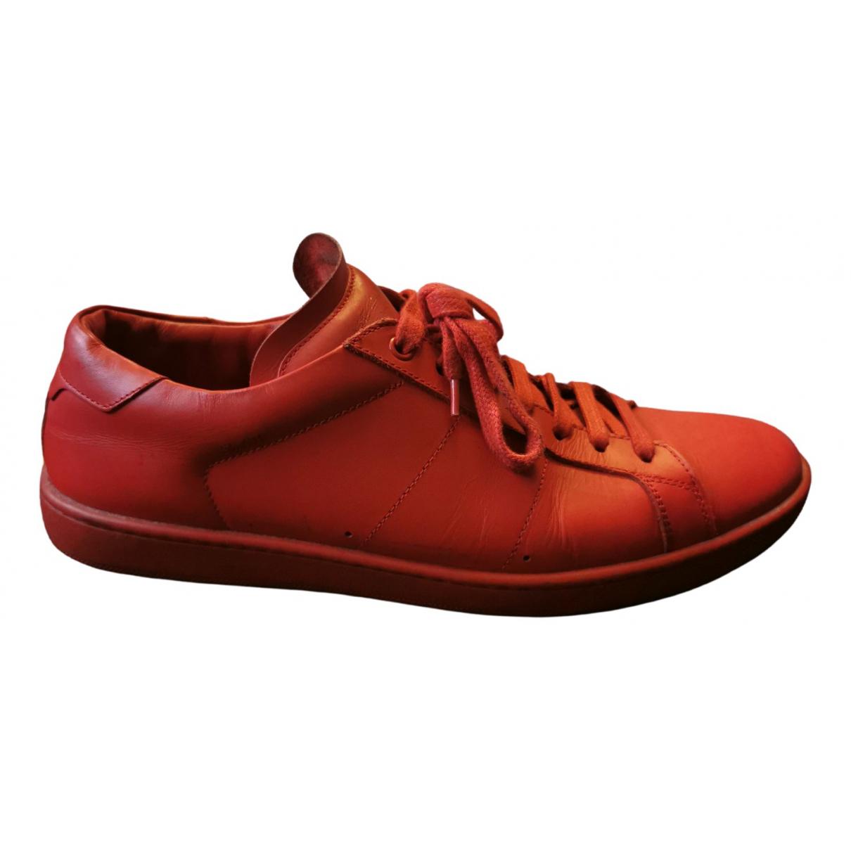 Saint Laurent - Baskets   pour homme en cuir - rouge