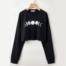 Moon Graphic Crop Tee