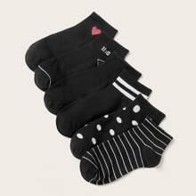 6pairs Striped & Heart Pattern Socks