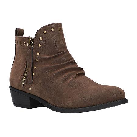 Easy Street Womens Elvie Booties Block Heel, 6 Medium, Brown