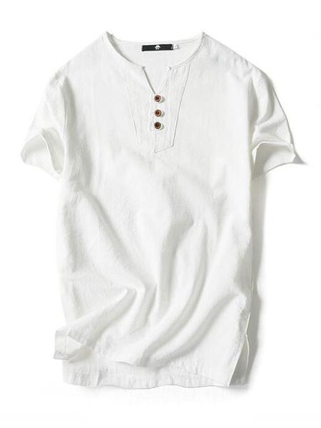Milanoo Los hombres de algodon de lino Top Plus Size T Shirt Button V cuello de manga corta camiseta casual
