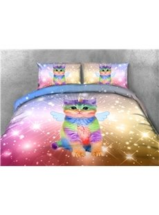 Cat With Shiny Wings 3D Printed 4Pcs Colorfast Warm Zipper Bedding Set