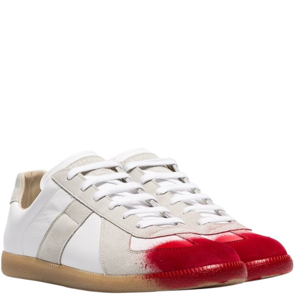 Maison Margiela Replica Red Painted Toe Sneakers White Colour: WHITE, Size: UK 6