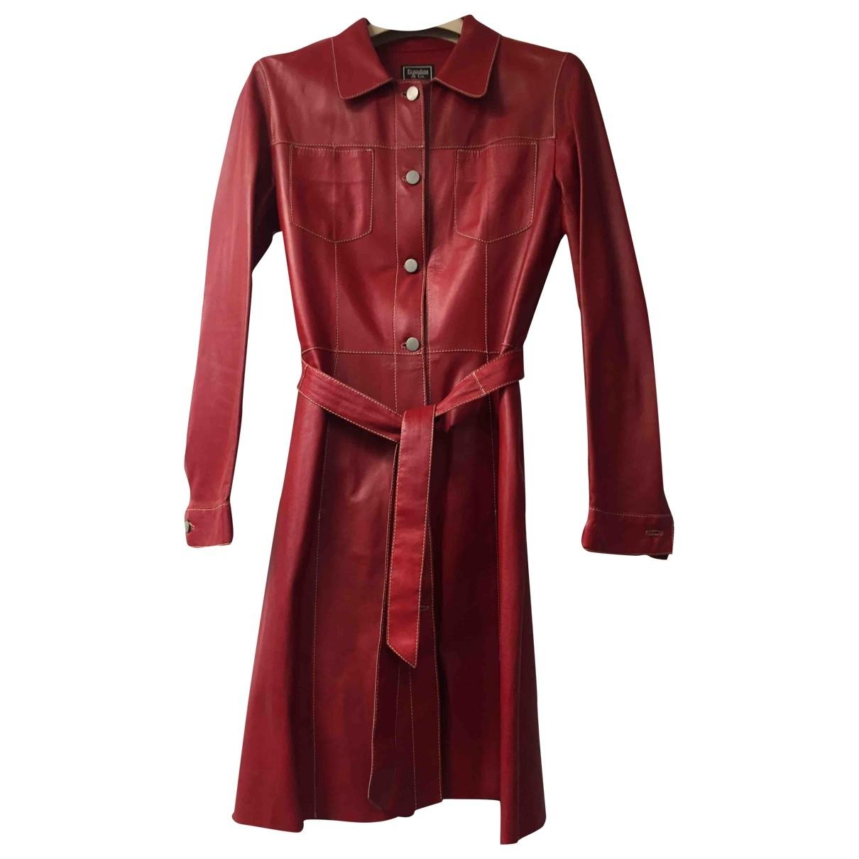 Prandina - Manteau   pour femme en cuir - rouge
