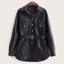 Button Front Flap Pocket Belted PU Coat