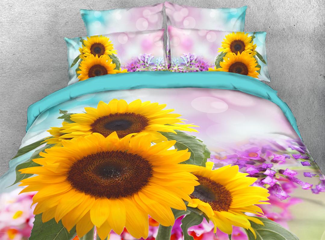 Sunflowers 5-Piece Floral Comforter Set Zipper Ties Colorfast/Wear-resistant/Skin-friendly Bedding Sets