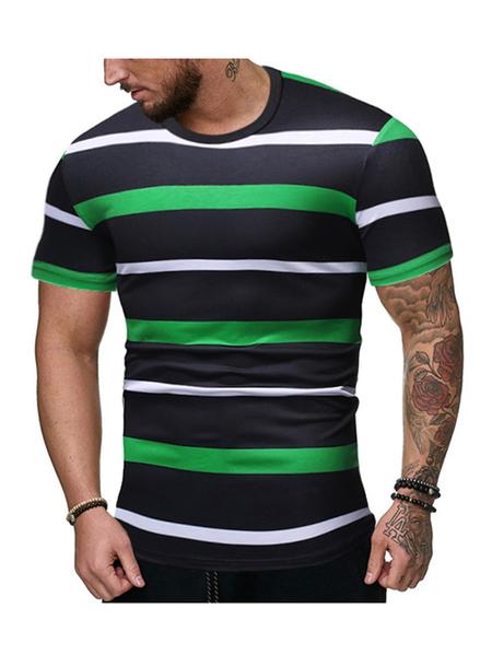 Yoins Men Summer Striped Color Block Casual Round Neck T-Shirt